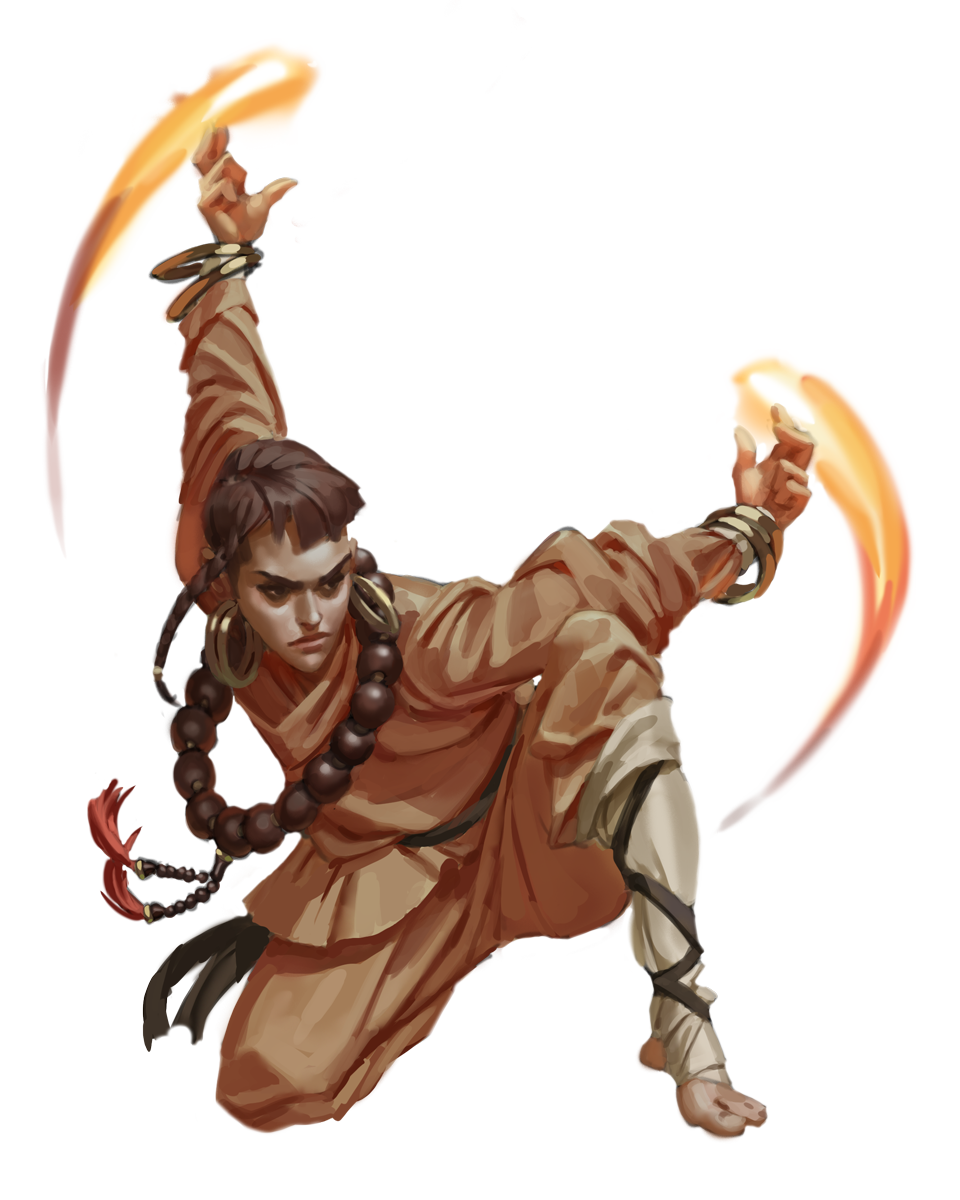 Maleeka Sanvara, a fire monk crouched with her arms outstretched and fire at her fingertips