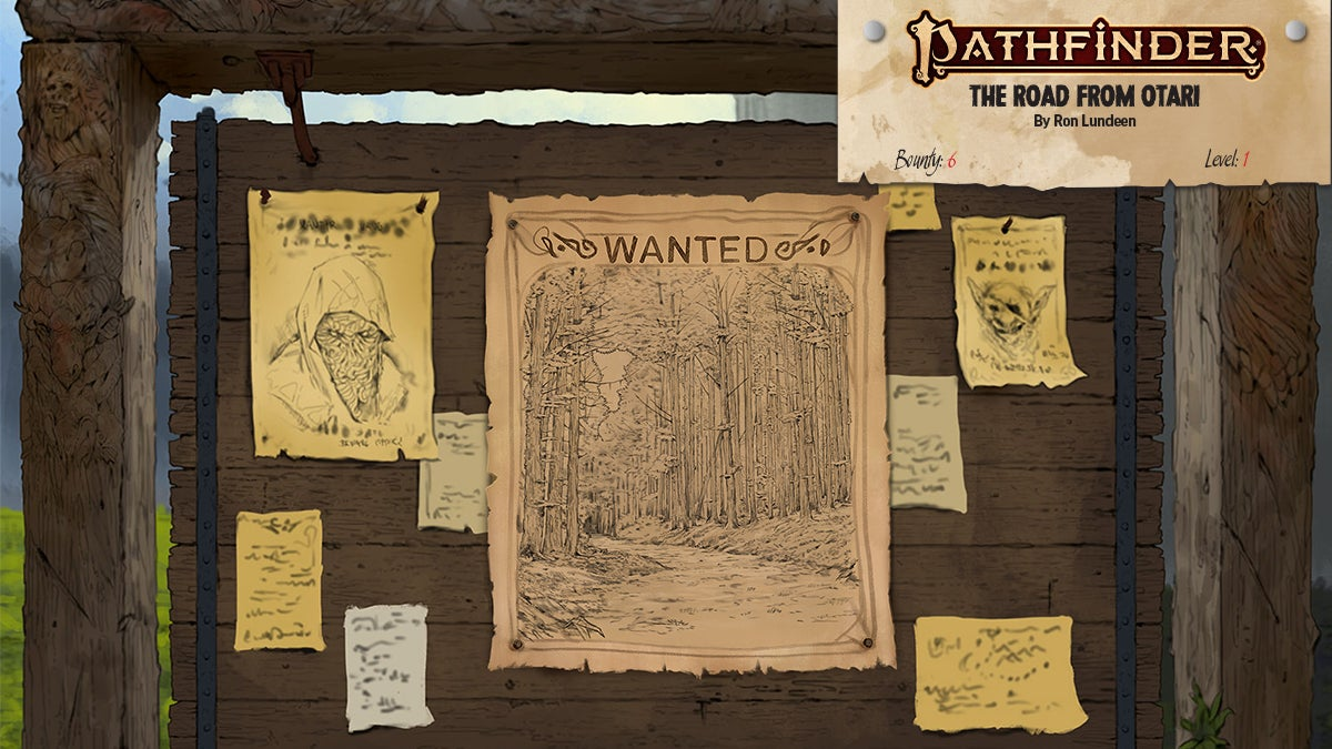 Pathfinder Bounties featuring a wanted sign with a print of a forest path on the main flyer