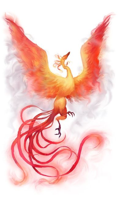 A phoenix with fiery wings and a long feathered tail