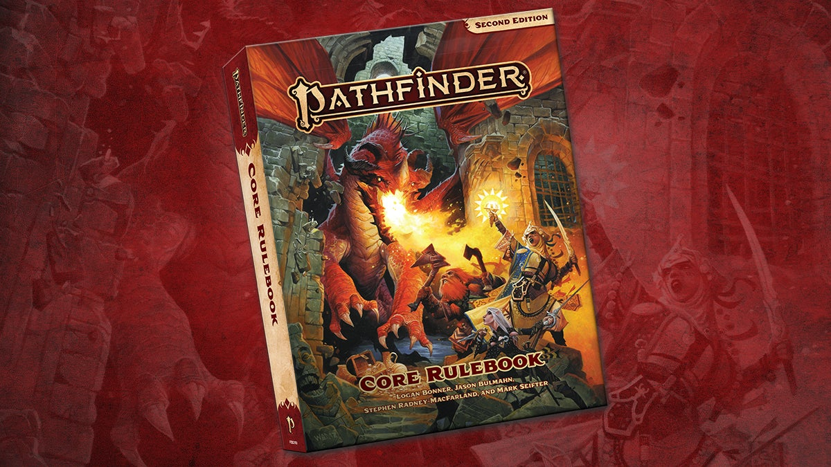 Pathfinder Second Edition Core Rulebook, featuring an image of the Iconics battling a red dragon breathing fire through a crumbling stone wall, on a red background
