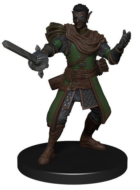 promo mini figure of a dark skinned elf in chain mail and a long green coat with a brown scarf, holding a sword in the 'en garde' position