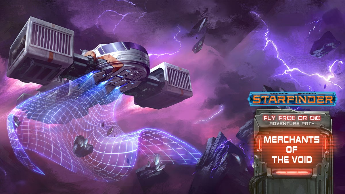 Starfinder Fly Free or Die Adventure Path:  Merchants of the Void (2 of 6), a square space craft hovers in an electric storm, using a gridded tractor beam to collect bits of asteroid and ore
