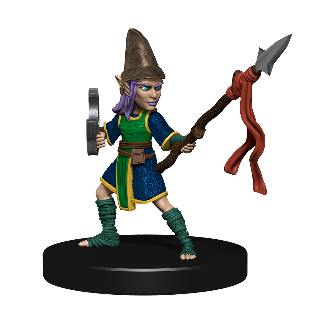 Mini figure of a purple haired gnome warrior dressed in leathers and chain mail with a buckler on one arm and a spear in the other hand