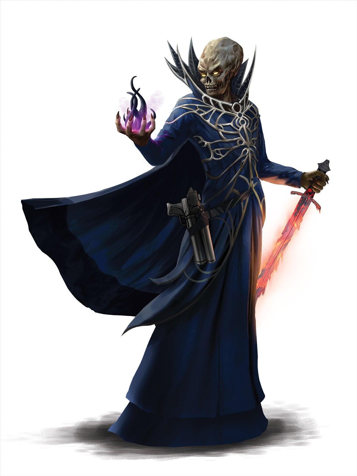 A grey, yellow eyed alien stands in dark blue robes with a pistol on their hip. Holding a flaming sword at one side and summoning a dark tentacled energy from their other hand
