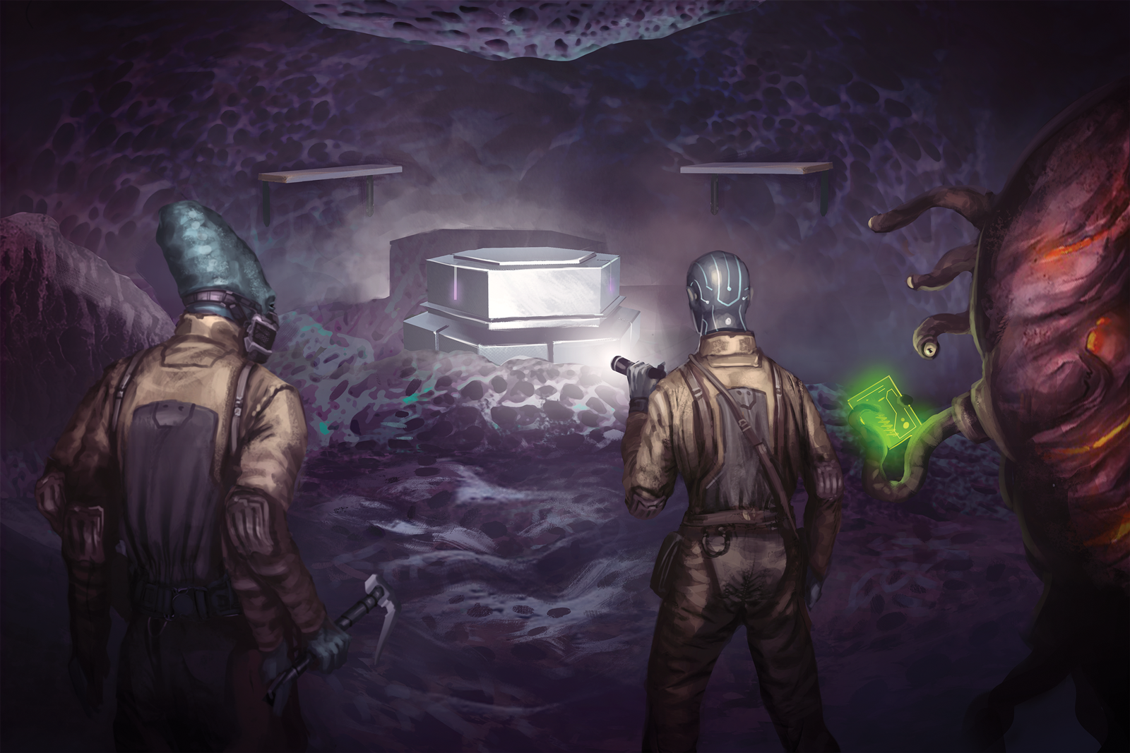 Three figures—an android, a kasatha, and a quorlu—step into a dark chamber, it's walls made of spongy-looking purple material of unknown origin. In the center of the chamber, illuminated by their flashlights, stands a hexagonal metal pedestal, which is giving off a faint glow.