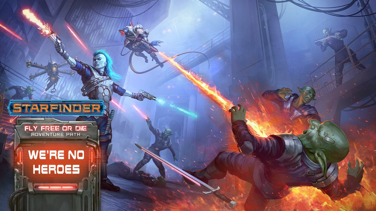 Starfinder Fly Free or Die Adventure Path: We're No Heroes. SF iconic andriod Iseph in the middle of a gunfight with a number of green aliens