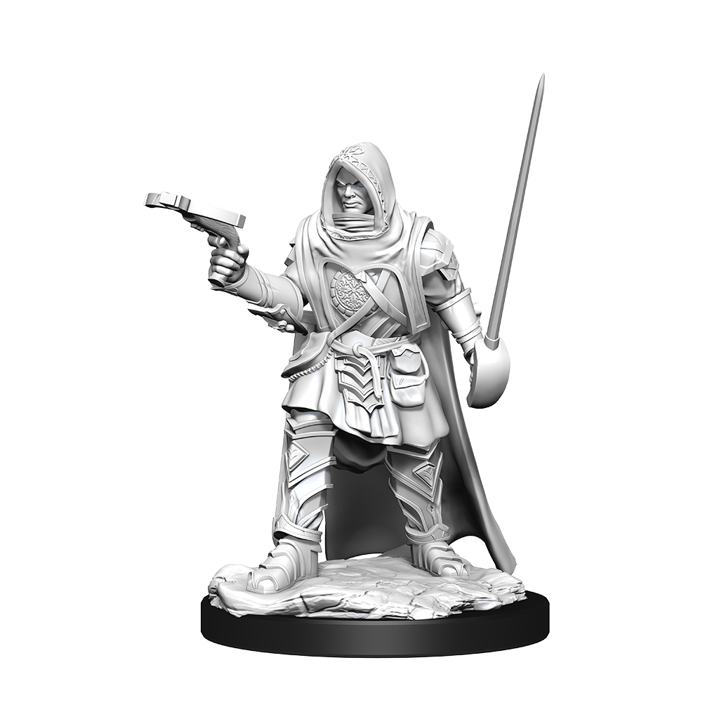 A miniature of a hooded human rogue wielding a hand crossbow in one hand and a saber in the other