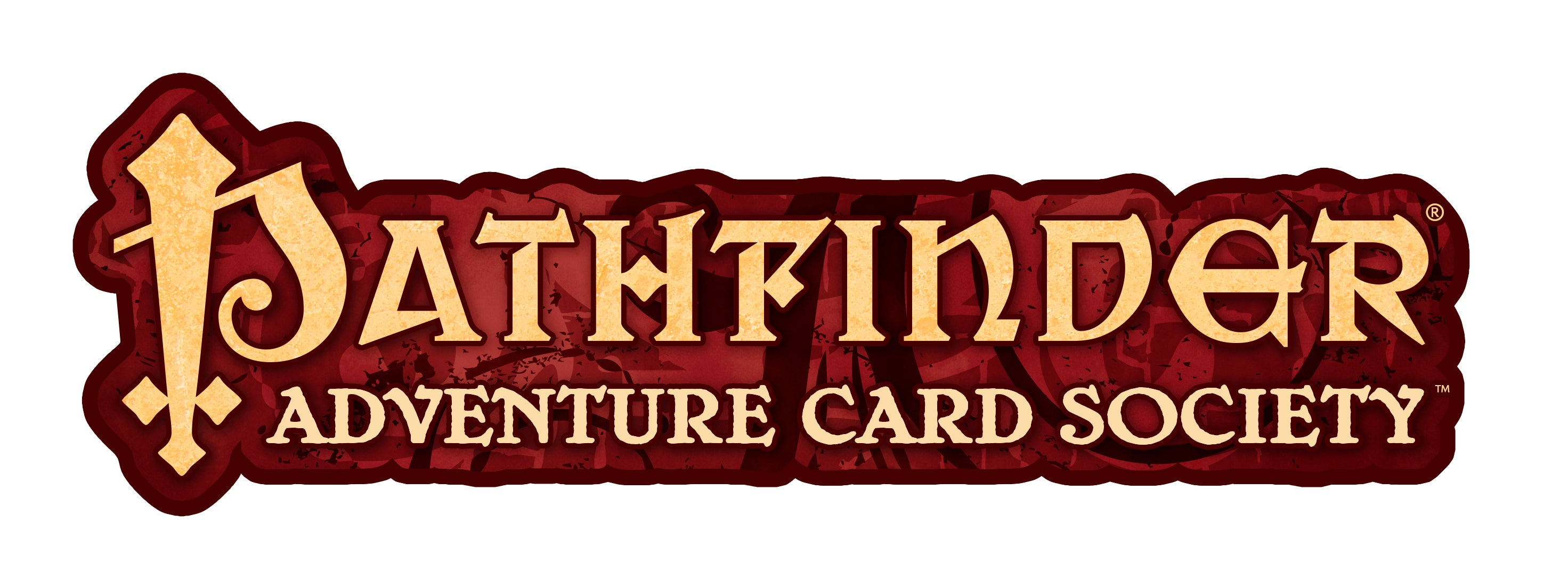 Pathfinder Adventure Card Society logo, Gold text on a red textured background