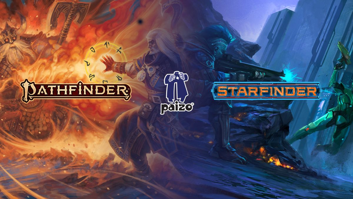 The pathfinder, starfinder, and paizo logos over an image of pathfinder iconic Ezren and Starfinder Iconic Iseph