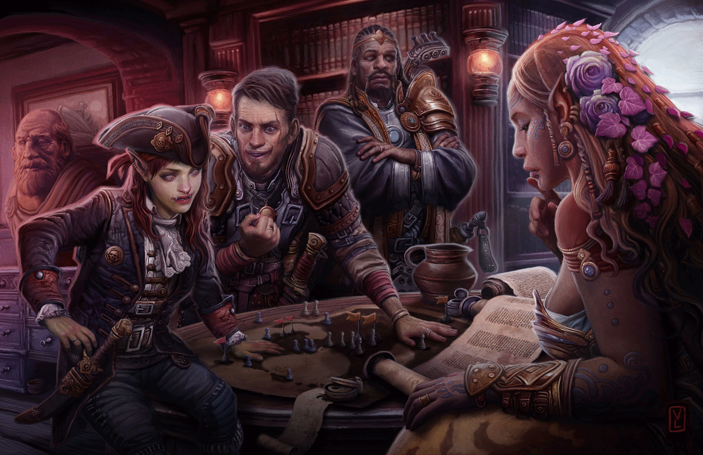 A female half-orc pirate captain and a white-skinned male human adventurer with a scar across his face are having a heated discussion over a war map in a cramped ship's cabin. A somber-looking male dwarf with ruddy skin and fine armor looks on, while a female elf with dark skin reads a scroll, seemingly oblivious to what's going on around her