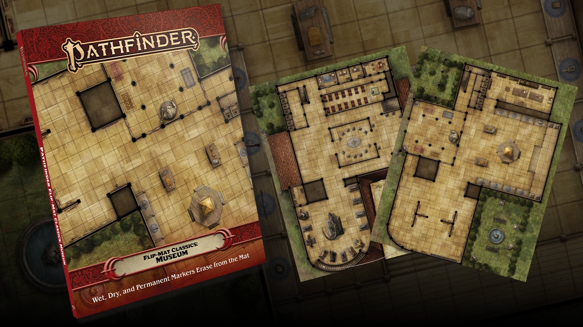 Pathfinder Flip-Mat Classics: Museum. Square tiled flip mat featuring different exhibit and room layouts on each side
