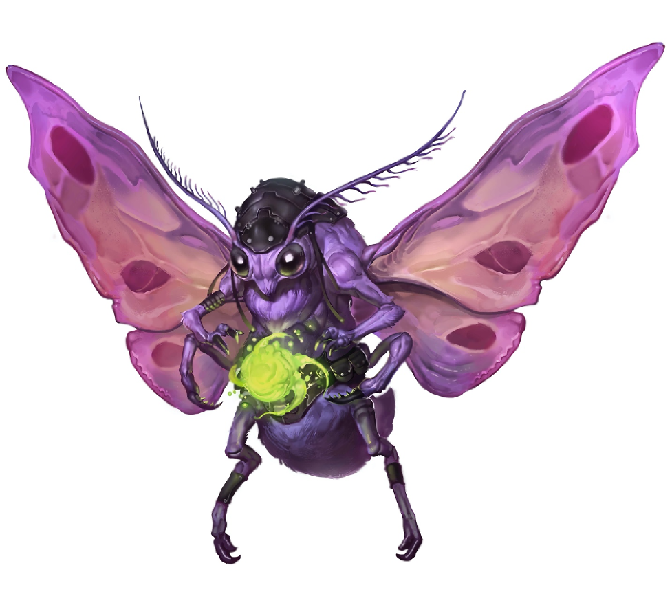 A purple, moth-like alien manipulates a small magical field between its outstretched forelimbs