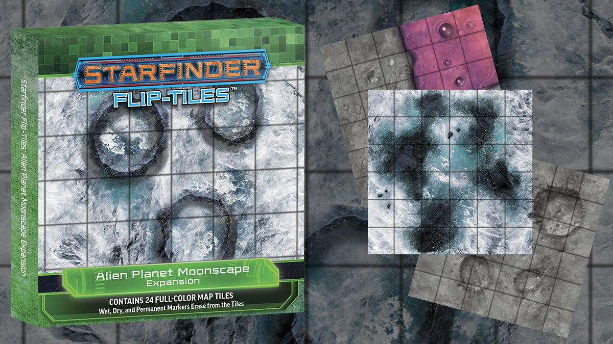 Starfinder Flip-Tiles: Alien Planet Moonscape. Square tiled mat of different moonscapes featuring cratered or icy scapes