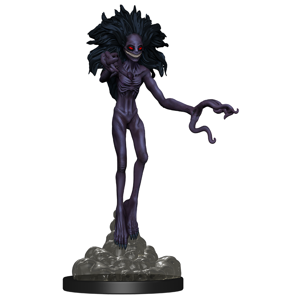Animated Dream: a mini figure of a manifested nightmare in the form a tall skeletal dark figure with a too large grin and dark red eyes
