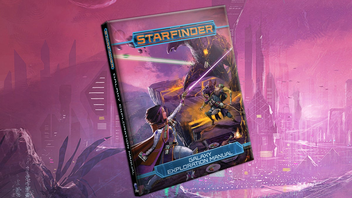 Starfinder Galaxy Exploration Manual featuring iconics Navasi and Quig battling a large stone-like alien with crevices across its body glowing with lava