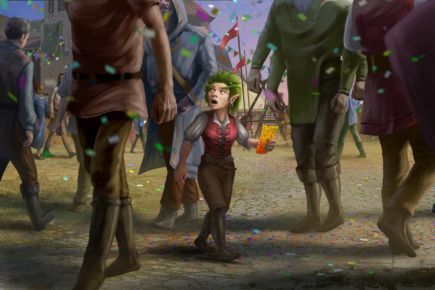 A wide-eyed, green-haired gnome makes her way through a crowd on the streets of a bustling fairground