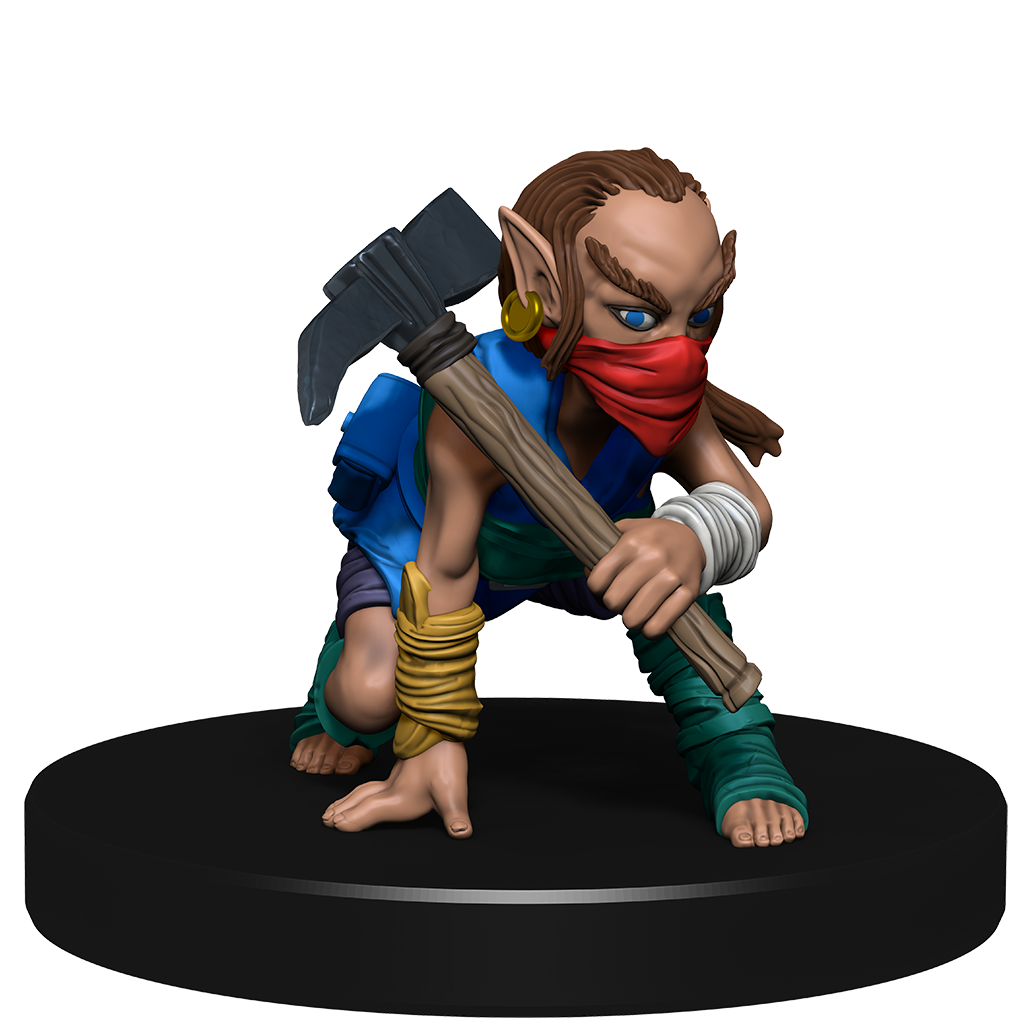Mini figure of a gnome scout dressed in wraps and leathers, with a mask over their lower face, crouched with a mattock