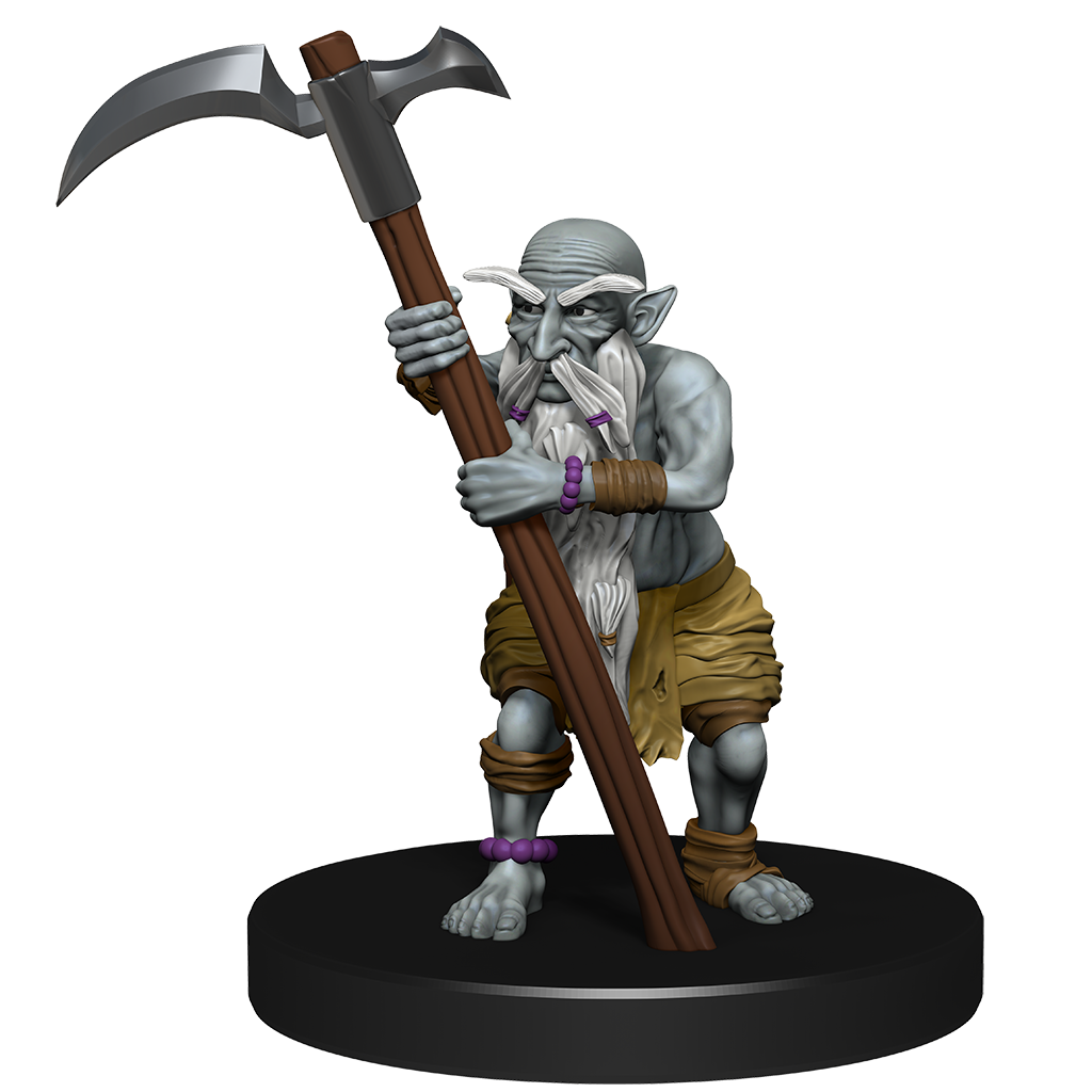 mini figure of a deep gnome with a large beard and eyebrows, holding a tall scythe