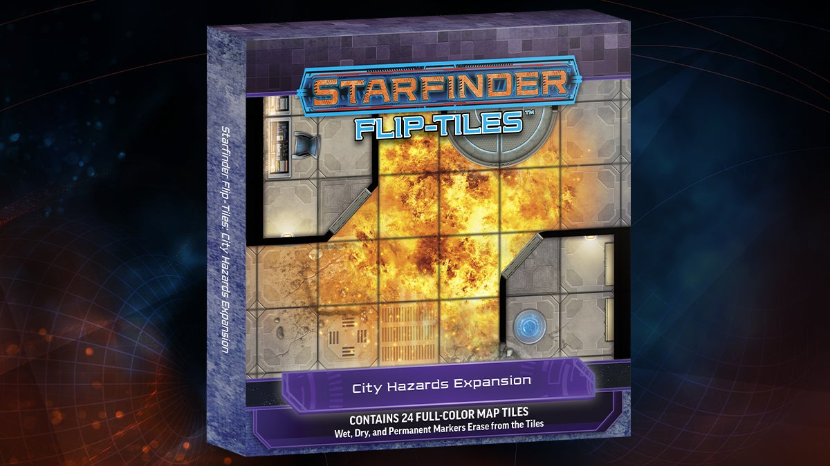 Starfinder Flip-Tiles: City Hazards Expansion box cover featuring a top down view of a square tiled map of a city overtaken by a roaring fire