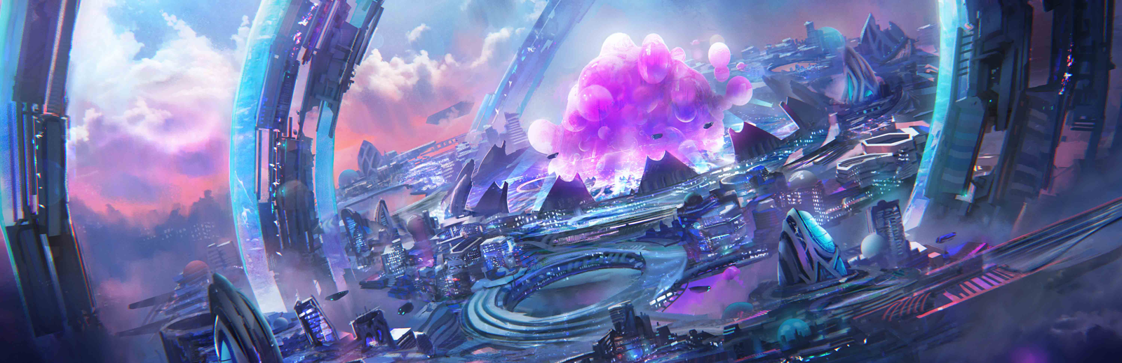 : A floating city of concentric rings of white, silver, and clear metal among a sea of colorful clouds. At the center of the ring is a massive pink organism that looks like a giant amoeba.