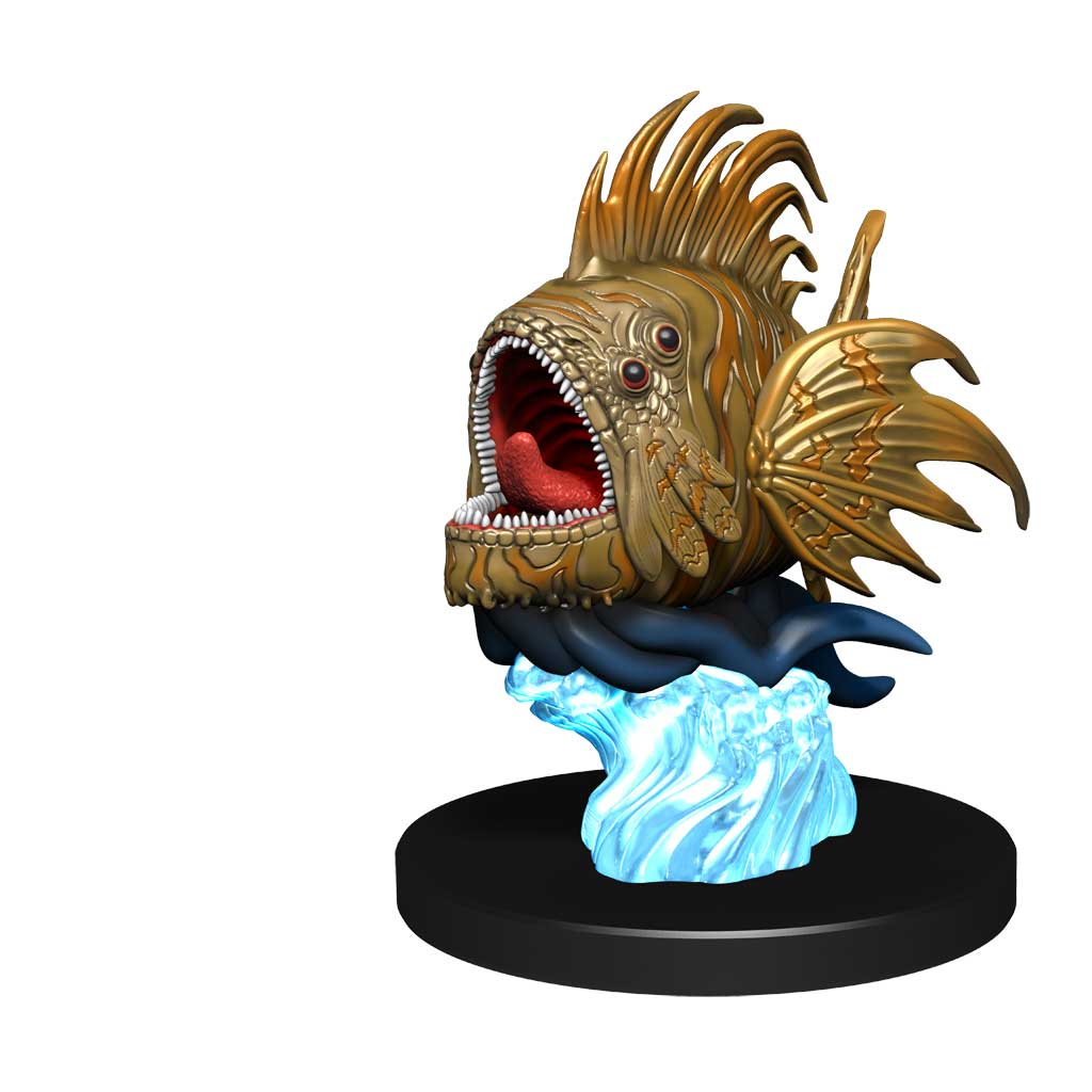Grodair Minifigure:  A large, four eyed, piraña-like fish with its mouth wide open, revealing many teeth