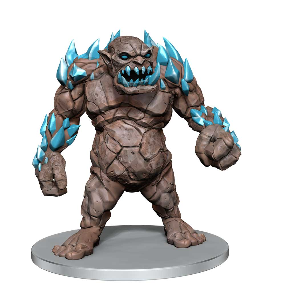 Cavern Troll: A large troll with stone-like skin and jagged crystalline teeth, with crystals protruding from its arms and shoulders