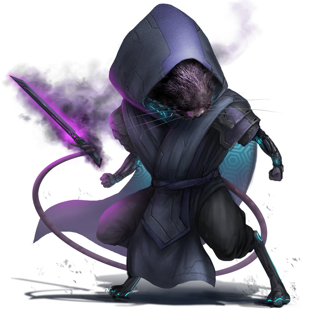 Starfinder Ysoki wearing dark robes and a hood wielding a dark blade with their tail
