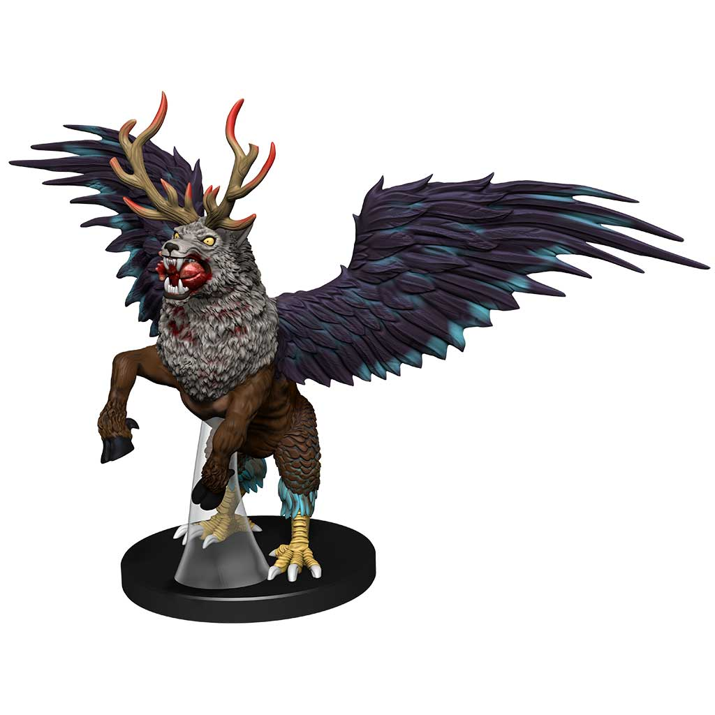 Peryton mini figure: a mix creatures with the head of a wolf, antlers of a stag, and wings and back legs of an eagle