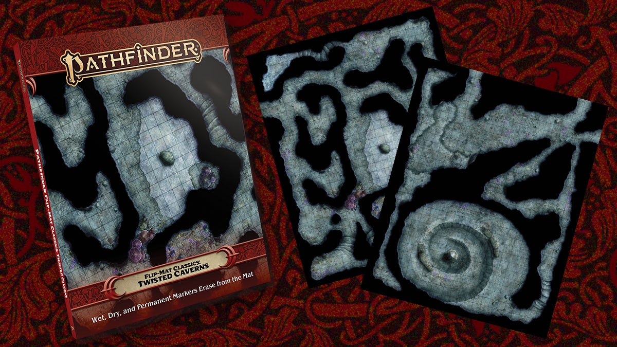 Pathfinder Flip Mat Classic: Twisted Cavern. A square tiled slip mat of sprawling and twisting underground caverns