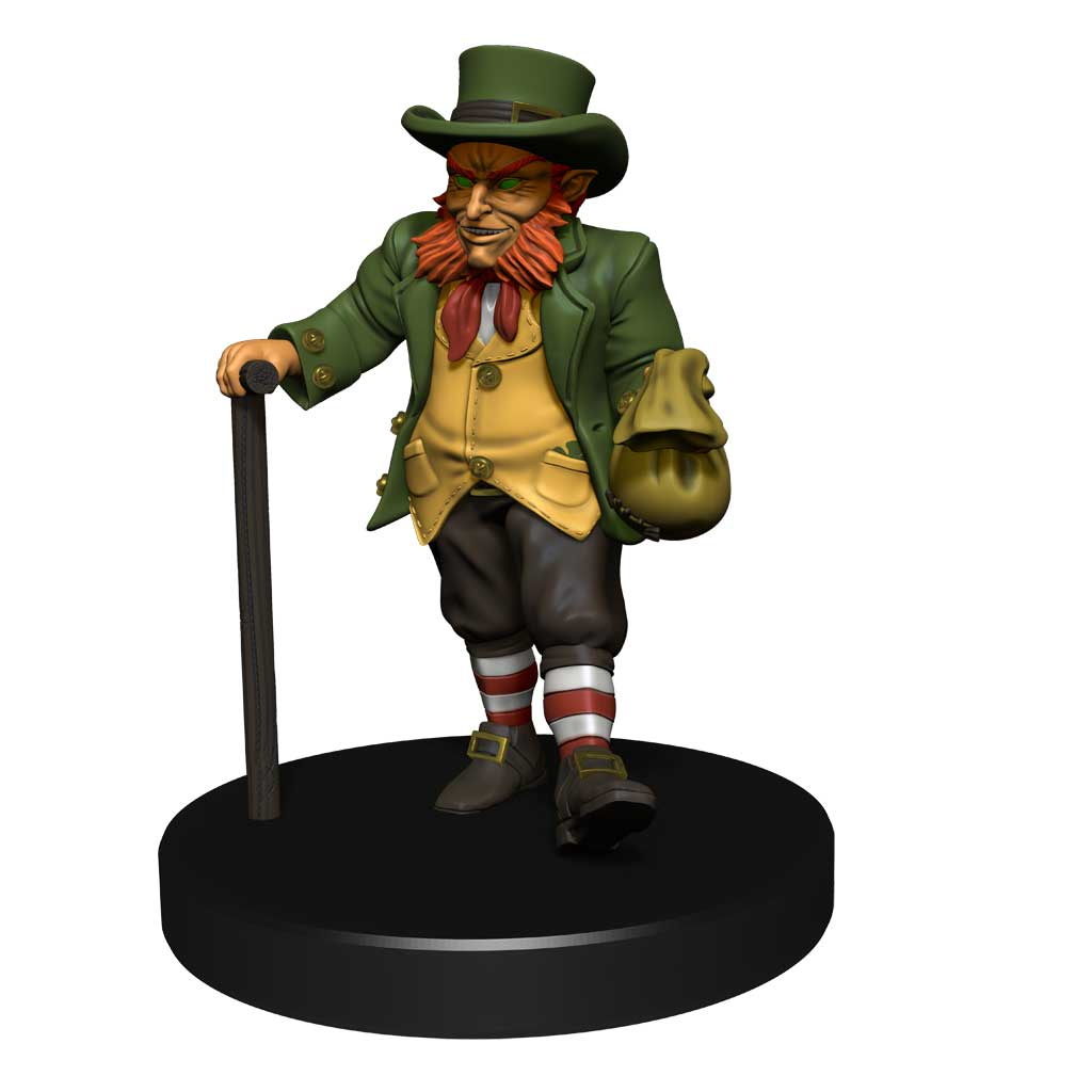 Mini figure of of a leprechaun with ginger muttonchops, a green jacket and tophat, and a bag of gold