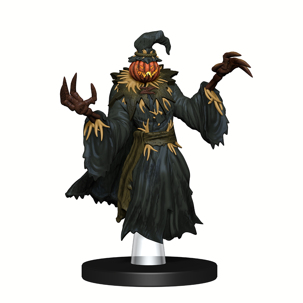 A mini figure of a scarecrow in dark robes with large stick-like hands and a jack-o-lantern for a head