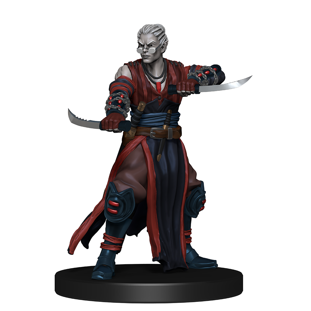 Mini figure of a hollowborn rogue, a drow with their hair pulled back in dark leathers and red and blue robes