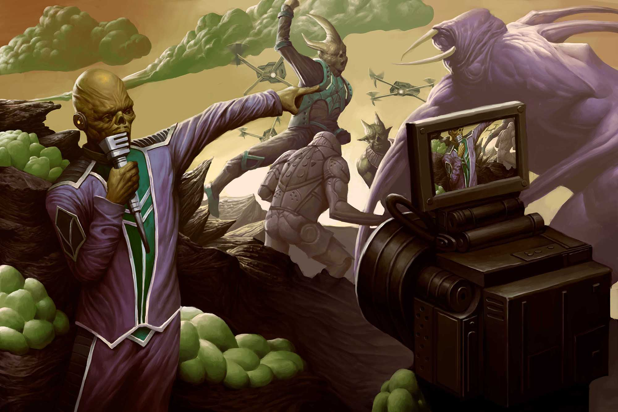 An undead humanoid holding a microphone stands in front of a video camera. He's pointing at a scene behind him in which some aliens are fighting a much larger monster on a weird planet