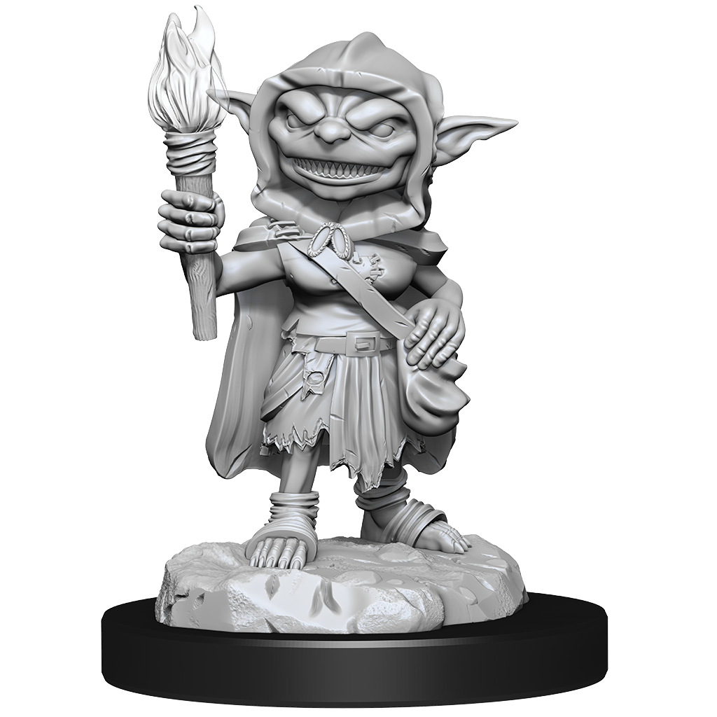 Miniature of a female goblin rogue, holding a torch in one hand and resting the other on a bag at her hip