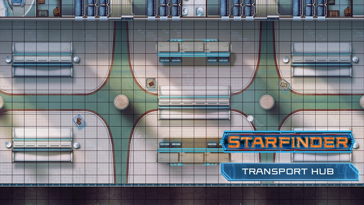 A top down square tiled map of a starfinder transport hub with desks and benches spaced equally apart similar to a waiting room