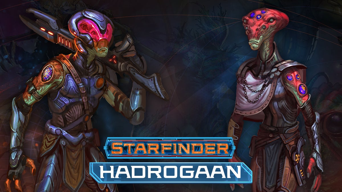 Starfinder Hadrogaans: Two tall green aliens wearing armor with four eyes. One wears a helmet with a rifle over their shoulder and the other wears a cape over one shoulder