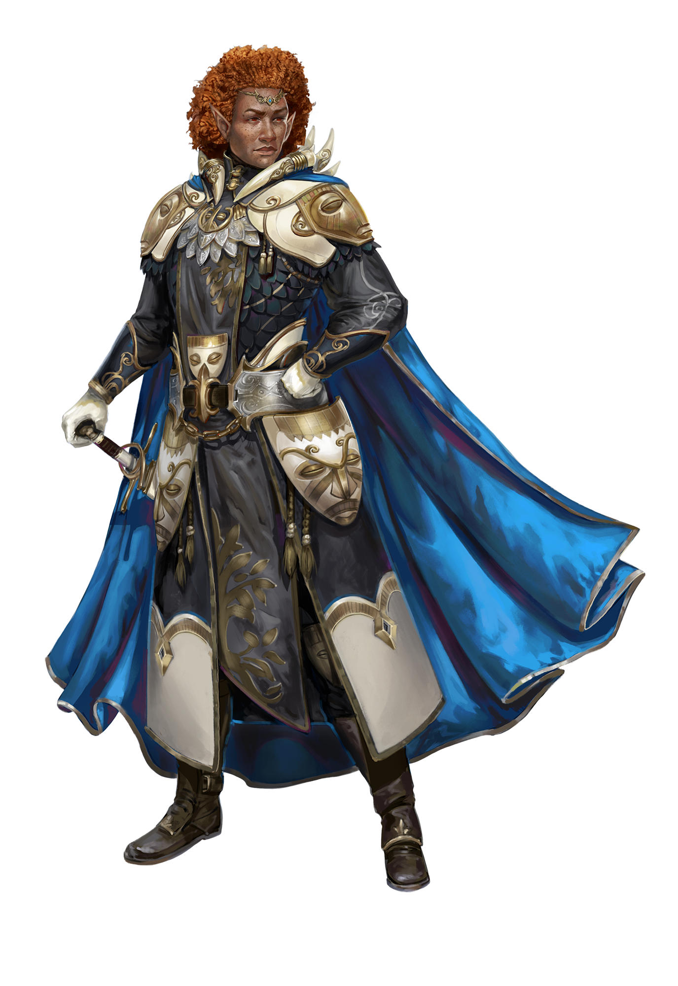 Art by Mirco Paganessi. A half elf man wearing brilliant armor with several mask accessories and a flowing cape