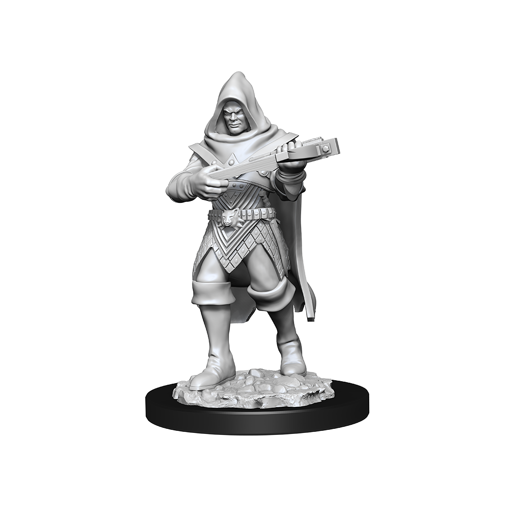 A miniature of a hooded human rogue wielding a crossbow