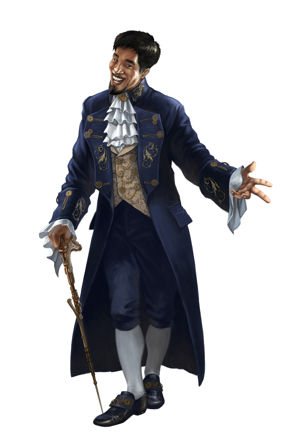 Sihn Siphandon, inventor and proprietor of the Grand Bazaar's Clockwork Caravan. Art by Loïc Canavaggia.