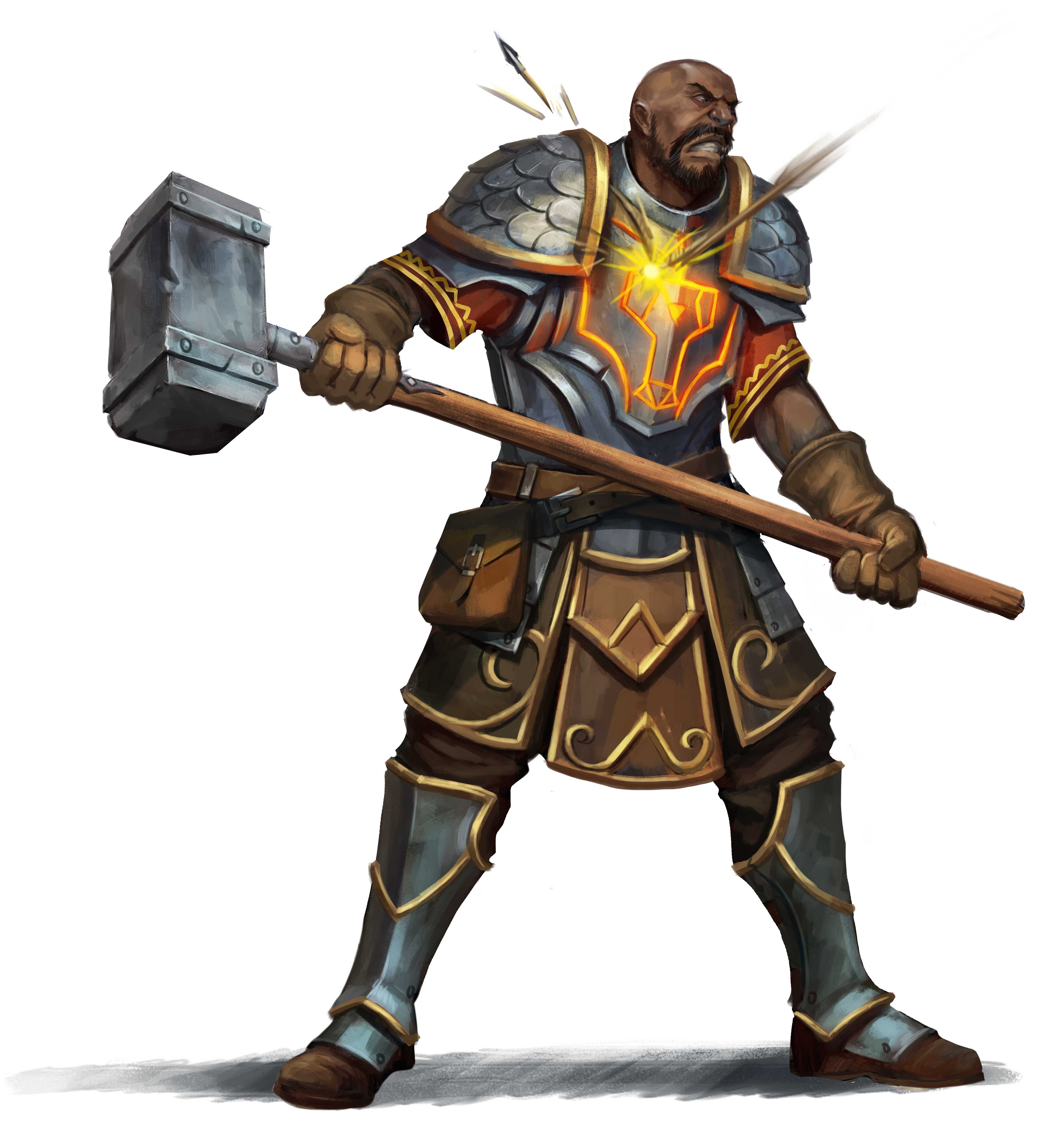 An arrow breaks against the armor of a human man. The armor is emblazoned with the symbol of Torag.
