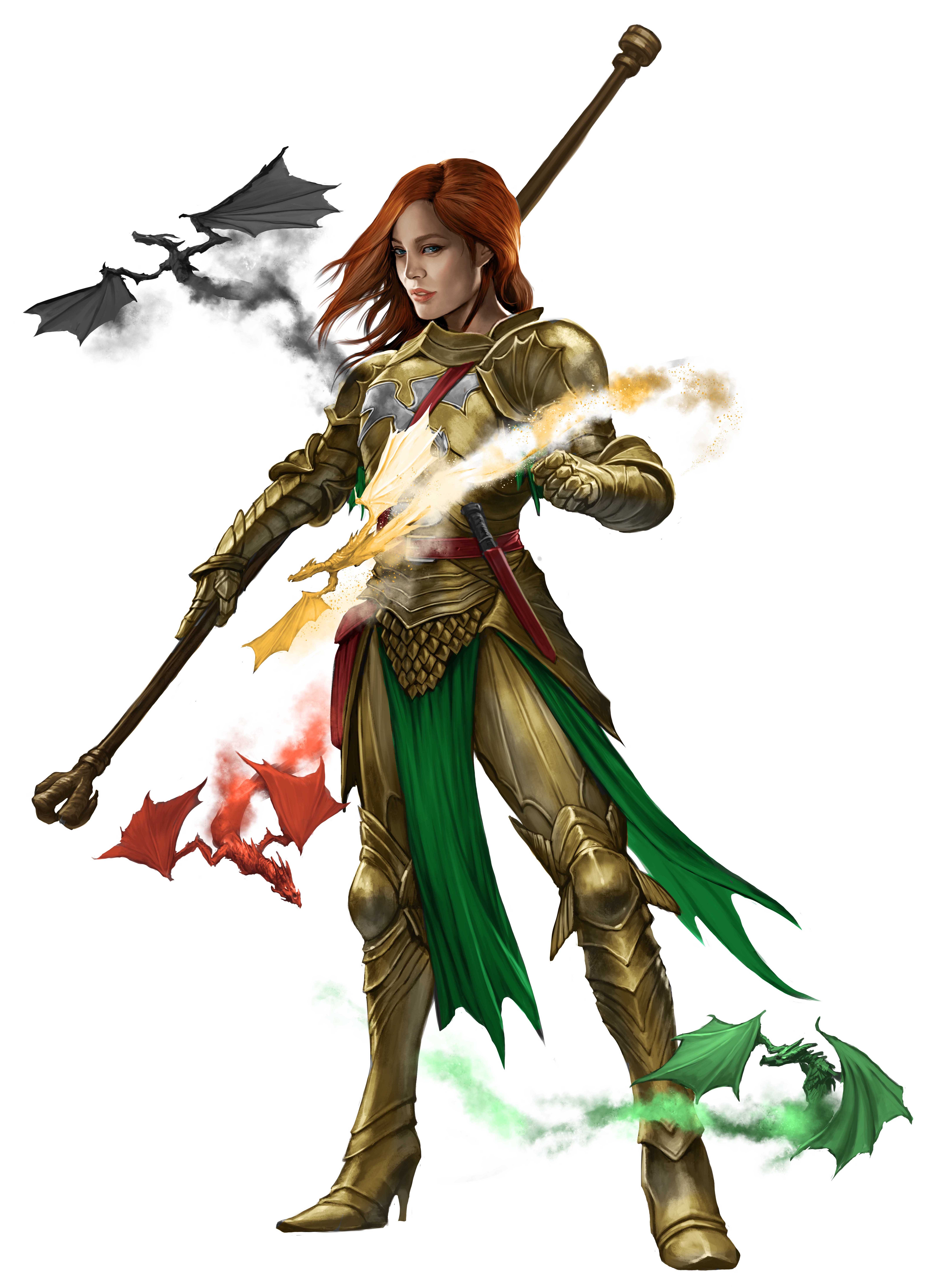 An armored woman is surrounded by several tiny dragons, each of a different type. She bears the religious symbol of Apsu on her armor.