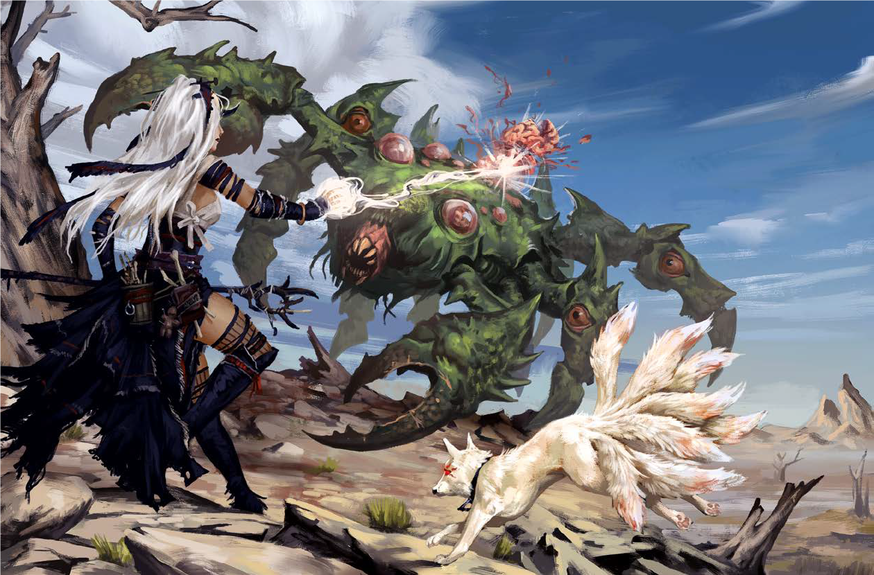 Pathfinder Iconic witch, Feiya, battles a large, green, clawed monster in a baren land