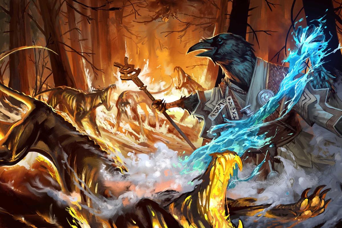Korakai, the tengu oracle channels his inner tempest to douse his enemies in water.