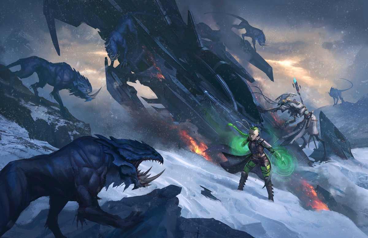 Starfinder Iconics, Raia the Lashunta technomancer, and Keskodai the Shirren mystic, battle the arctic elements and wild scavengers outside their crashed ship.
