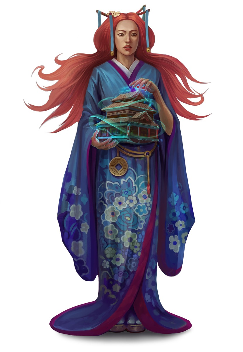 The sorceress Hao Jin holds a miniaturized building in her hands.