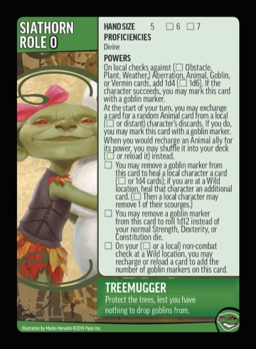 Treemugger. Protect the trees, lest you have nothing to drop goblins from.