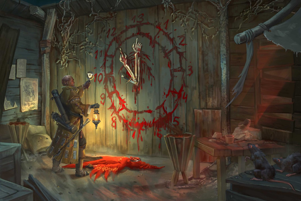 Quinn, the iconic investigator, holds a torch aloft in a dingy alley. The body of a person in red cultist's robes lies splayed on the ground in front of a clock painted in blood on the wall. The clock's hands are two human arms pointing at the twelve and thirteen