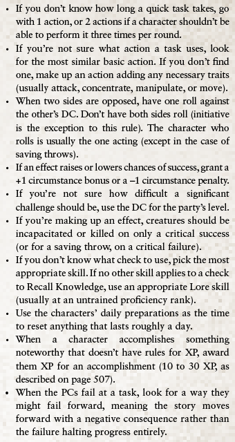 Text inset: If you don't know how long a quick task takes, go with 1 action, or 2 actions if a character shouldn't be able to perform it three times per round.  