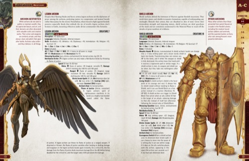 Pathfinder Bestiary Entries for various types of Archons, including the Legion Archon and Shield Archon. Featuring illustrations of the Legion Archon and Shield Archon.