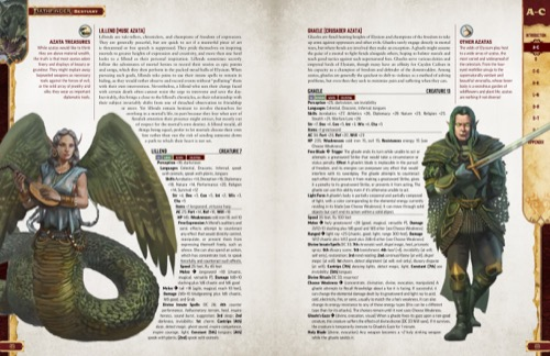 Pathfinder Bestiary Entries for various types of Azatas, including the Lillend (Muse Azata) and Ghaele (Crusader Azata). Featuring illustrations of the Lillend and Ghaele.